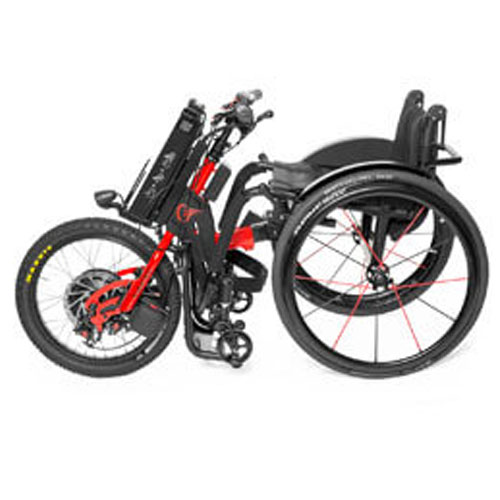Batec electric handbike attached to a wheelchair