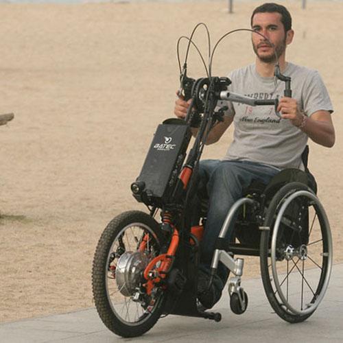 Batec hybrid handbike on road